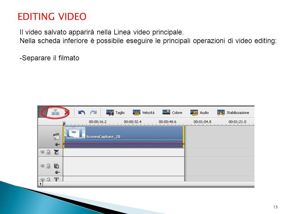 EDITING VIDEO Il video salvato apparirà nella Linea video principale. Nella scheda inferiore è possibile eseguire le principali operazioni di video ed