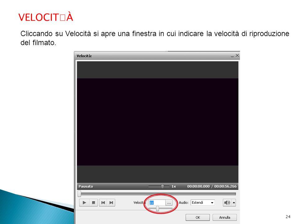 VELOCITÀ Cliccando su Velocità si apre una finestra in cui indicare la velocità di riproduzione del filmato.