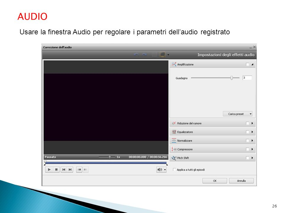 AUDIO Usare la finestra Audio per regolare i parametri dell'audio registrato 26