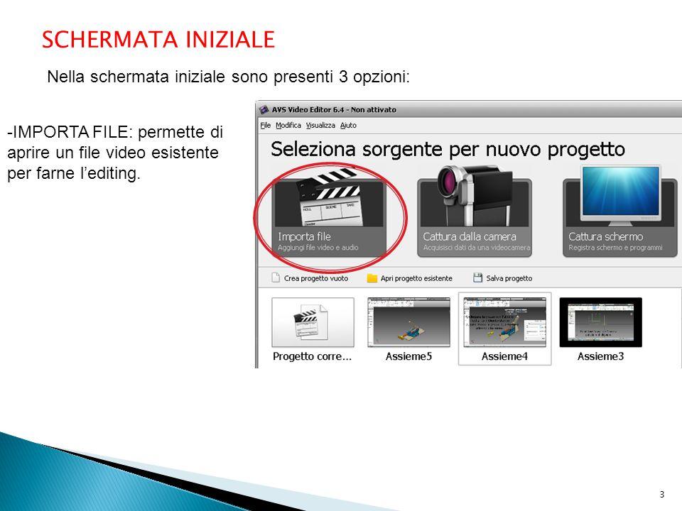 SCHERMATA INIZIALE Nella schermata iniziale sono presenti 3 opzioni: -IMPORTA FILE: permette di aprire un file video esistente per farne l'editing. 3