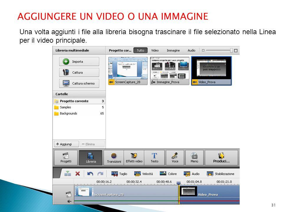 AGGIUNGERE UN VIDEO O UNA IMMAGINE Una volta aggiunti i file alla libreria bisogna trascinare il file selezionato nella Linea per il video principale.