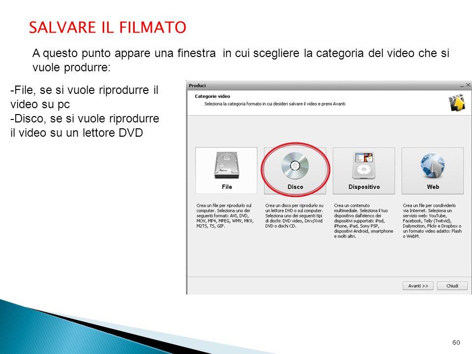 A questo punto appare una finestra in cui scegliere la categoria del video che si vuole produrre: SALVARE IL FILMATO -File, se si vuole riprodurre il video su pc -Disco, se si vuole riprodurre il video su un lettore DVD 60
