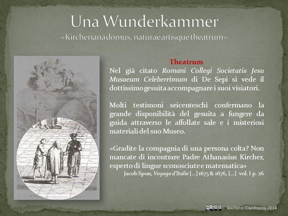 Giuliano Cianfrocca 2014 Theatrum Nel già citato Romani Collegi Societatis Jesu Musaeum Celeberrimum di De Sepi si vede il dottissimo gesuita accompagnare i suoi visiatori.