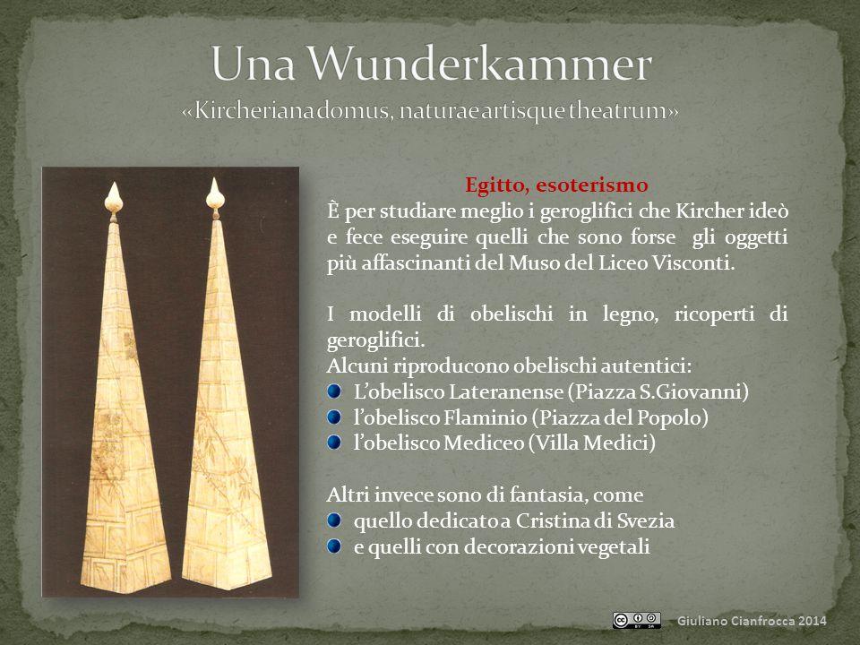Giuliano Cianfrocca 2014 Egitto, esoterismo È per studiare meglio i geroglifici che Kircher ideò e fece eseguire quelli che sono forse gli oggetti più affascinanti del Muso del Liceo Visconti.
