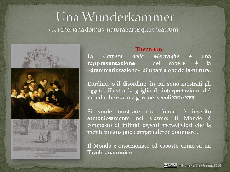 Giuliano Cianfrocca 2014 Theatrum Era però un Teatro diverso dagli altri: era un luogo di esposizione di oggetti rari, esotici, sconosciuti ai più.