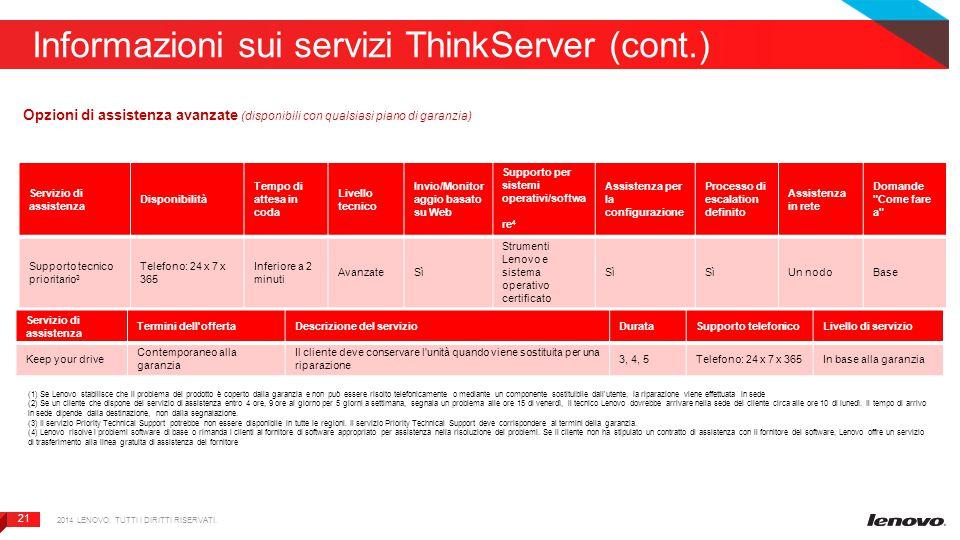 21 Informazioni sui servizi ThinkServer (cont.) 2014 LENOVO. TUTTI I DIRITTI RISERVATI. Opzioni di assistenza avanzate (disponibili con qualsiasi pian