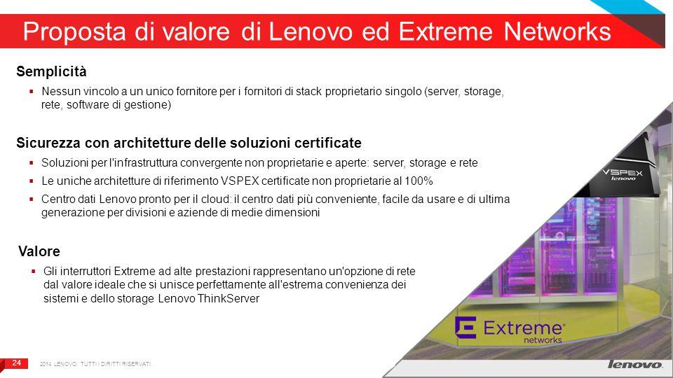24 Proposta di valore di Lenovo ed Extreme Networks Semplicità  Nessun vincolo a un unico fornitore per i fornitori di stack proprietario singolo (se