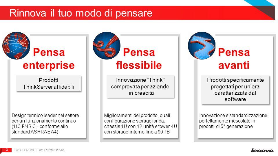 3 3 Rinnova il tuo modo di pensare 2014 LENOVO. Tutti i diritti riservati. Pensa enterprise Pensa flessibile Pensa avanti Prodotti ThinkServer affidab