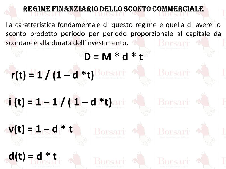 REGIME FINANZIARIO dello sconto commerciale La caratteristica fondamentale di questo regime è quella di avere lo sconto prodotto periodo per periodo p