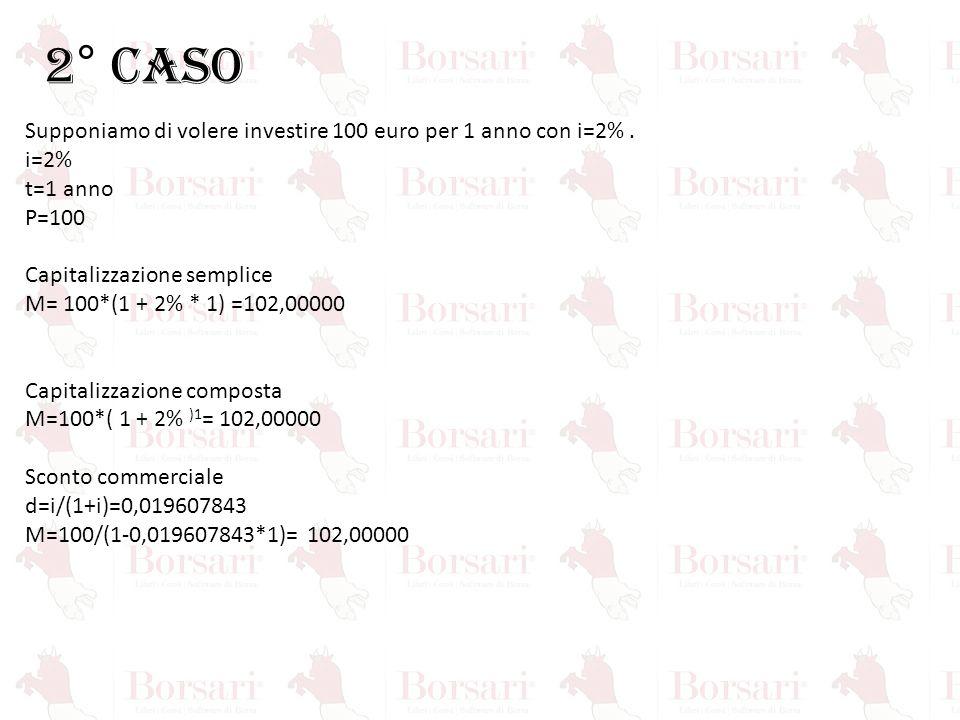 2° CASO Supponiamo di volere investire 100 euro per 1 anno con i=2%. i=2% t=1 anno P=100 Capitalizzazione semplice M= 100*(1 + 2% * 1) =102,00000 Capi