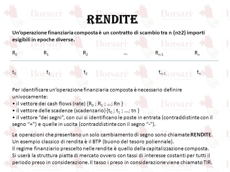 RENDITE R 0 R 1 R 2 … R n-1 R n t 0 t 1 t 2 t n-1 t n Un'operazione finanziaria composta è un contratto di scambio tra n (n≥2) importi esigibili in ep