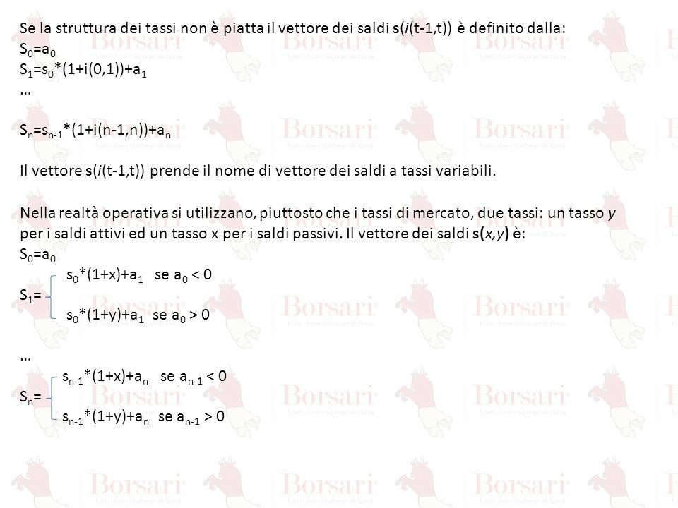 Se la struttura dei tassi non è piatta il vettore dei saldi s(i(t-1,t)) è definito dalla: S 0 =a 0 S 1 =s 0 *(1+i(0,1))+a 1 … S n =s n-1 *(1+i(n-1,n))