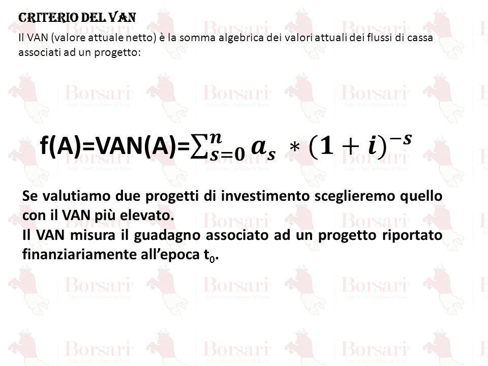 CRITERIO DEL VAN Il VAN (valore attuale netto) è la somma algebrica dei valori attuali dei flussi di cassa associati ad un progetto: Se valutiamo due