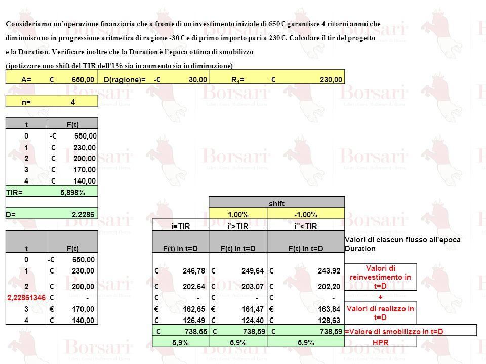 Consideriamo un'operazione finanziaria che a fronte di un investimento iniziale di 650 € garantisce 4 ritorni annui che diminuiscono in progressione a