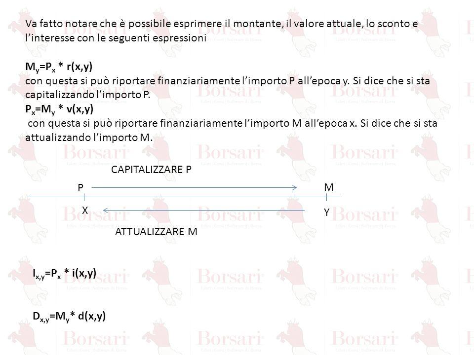Va fatto notare che è possibile esprimere il montante, il valore attuale, lo sconto e l'interesse con le seguenti espressioni M y =P x * r(x,y) con qu