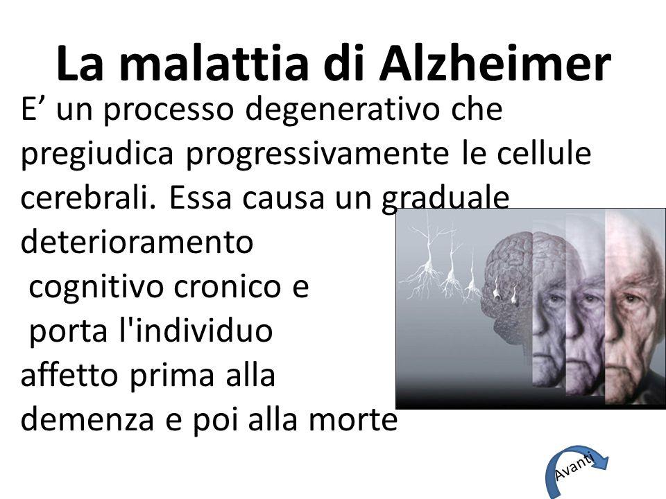La malattia di Alzheimer E' un processo degenerativo che pregiudica progressivamente le cellule cerebrali.
