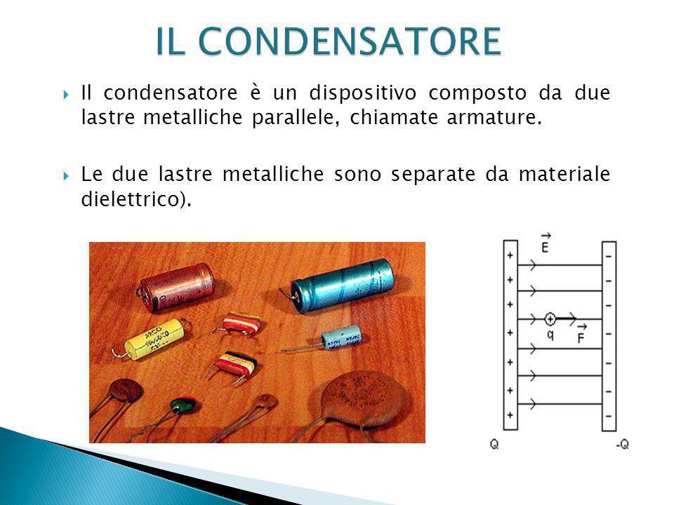  Il condensatore è un dispositivo composto da due lastre metalliche parallele, chiamate armature.
