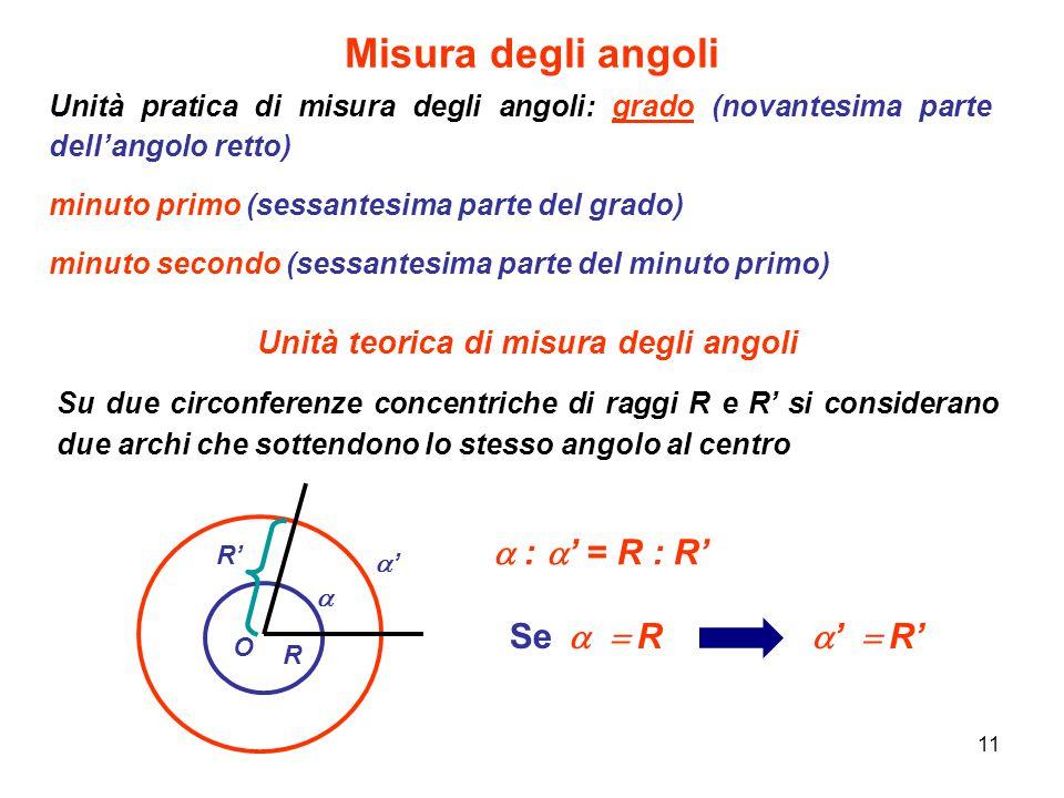 11 Misura degli angoli Unità pratica di misura degli angoli: grado (novantesima parte dell'angolo retto) minuto primo (sessantesima parte del grado) m