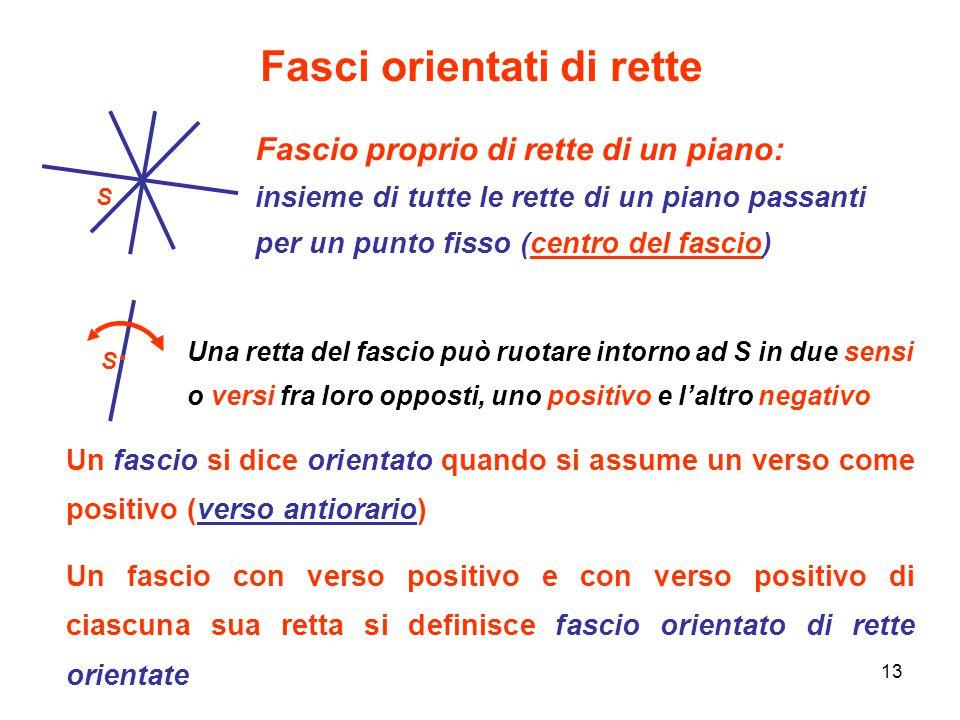 13 Fasci orientati di rette Fascio proprio di rette di un piano: insieme di tutte le rette di un piano passanti per un punto fisso (centro del fascio)