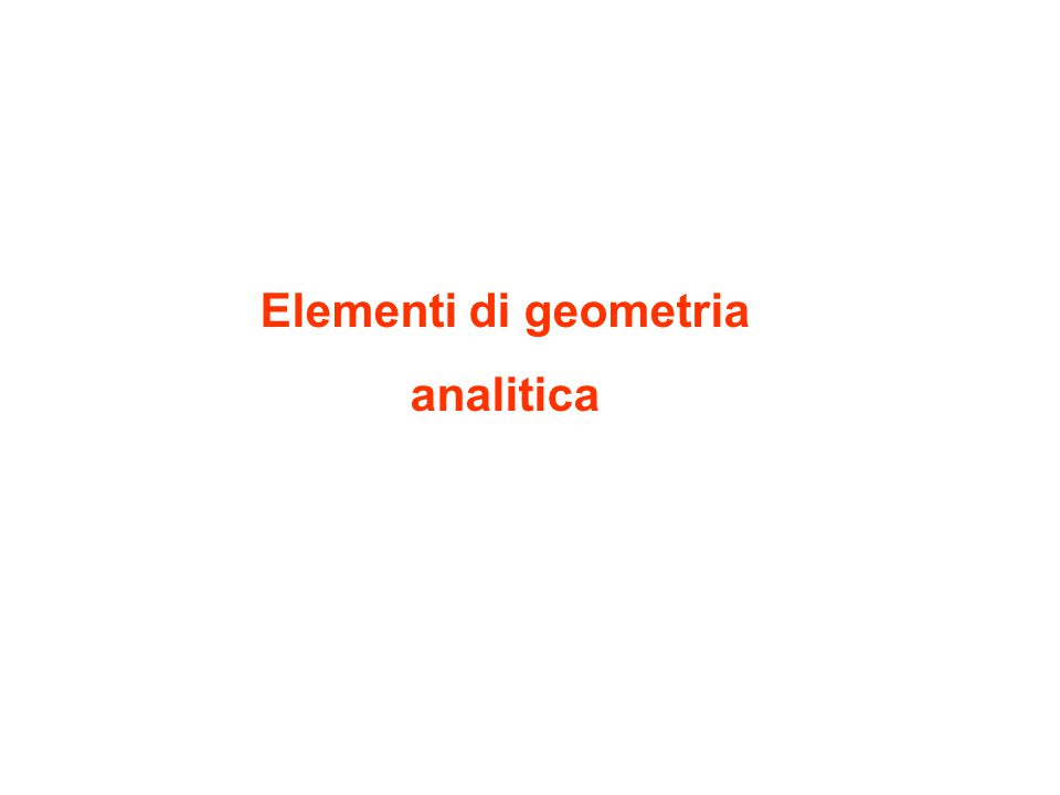 Elementi di geometria analitica