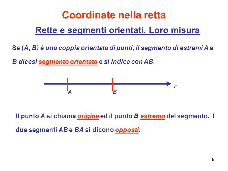 5 Coordinate nella retta Rette e segmenti orientati. Loro misura origineestremo opposti Il punto A si chiama origine ed il punto B estremo del segment