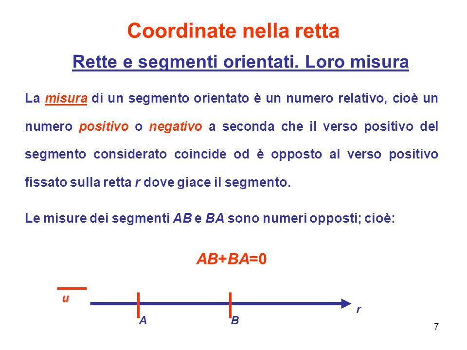 8 Coordinate nella retta Ascisse sulla retta Una retta orientata r viene suddivisa da un punto O arbitrario (punto di origine) in due semirette, una positiva (contiene i punti successivi ad O nel verso positivo) l'altra negativa O r P Preso sulla retta r un punto qualsiasi P e fissata una unità di misura, sia x la misura del segmento orientato OP.