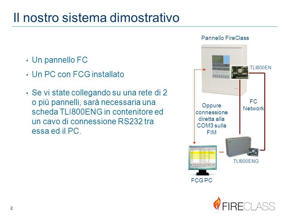 2 2 Il nostro sistema dimostrativo Un pannello FC Un PC con FCG installato TLI800EN FC Network Se vi state collegando su una rete di 2 o più pannelli, sarà necessaria una scheda TLI800ENG in contenitore ed un cavo di connessione RS232 tra essa ed il PC.
