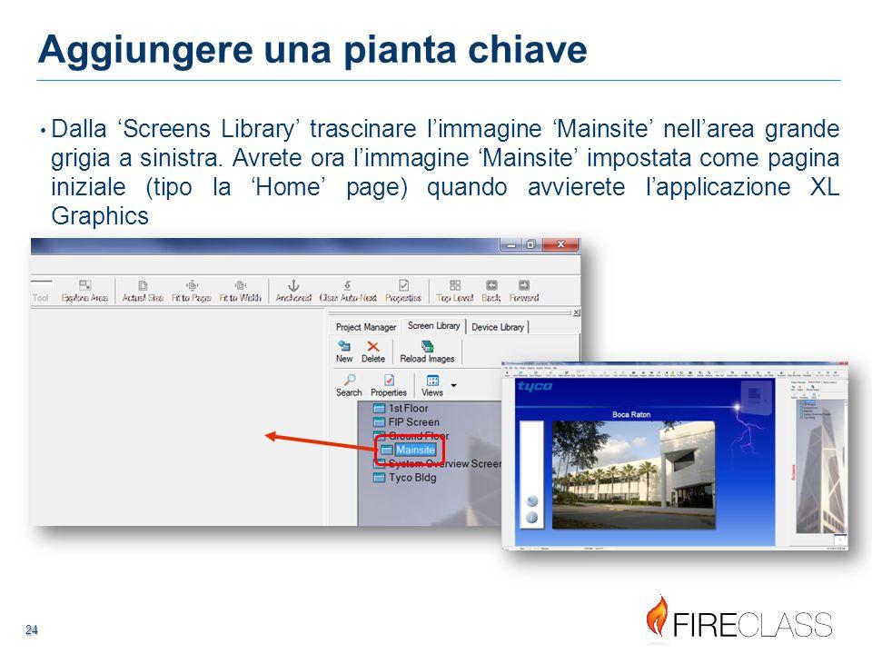 24 24 Aggiungere una pianta chiave Dalla 'Screens Library' trascinare l'immagine 'Mainsite' nell'area grande grigia a sinistra.
