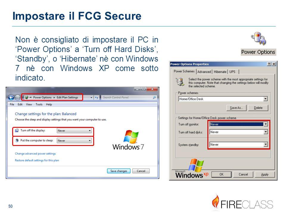 51 51 Impostare il FCG Secure Digitare 'FCGuser' seguito dalla password 'FCG' come mostrato a destra, selezionare entrambe le caselle quindi premere OK.