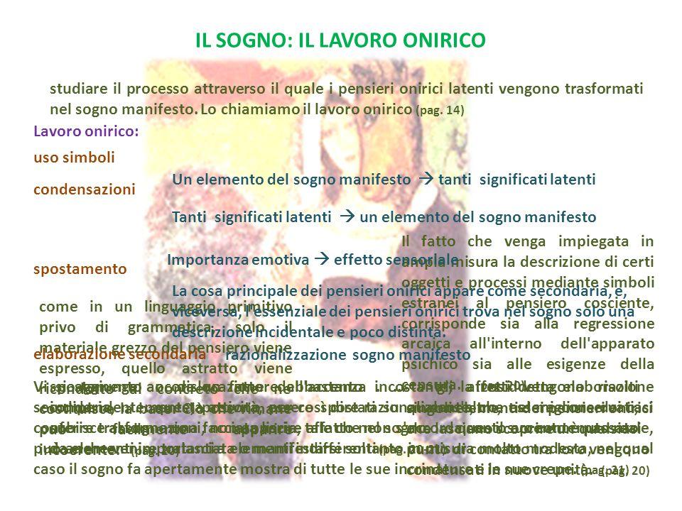 IL SOGNO: IL LAVORO ONIRICO condensazioni Lavoro onirico: studiare il processo attraverso il quale i pensieri onirici latenti vengono trasformati nel sogno manifesto.