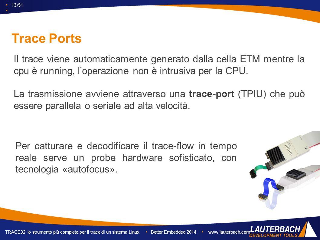 ▪ 13 /51 ▪ TRACE32: lo strumento più completo per il trace di un sistema Linux ▪ Better Embedded 2014 ▪ www.lauterbach.com Trace Ports Il trace viene automaticamente generato dalla cella ETM mentre la cpu è running, l'operazione non è intrusiva per la CPU.