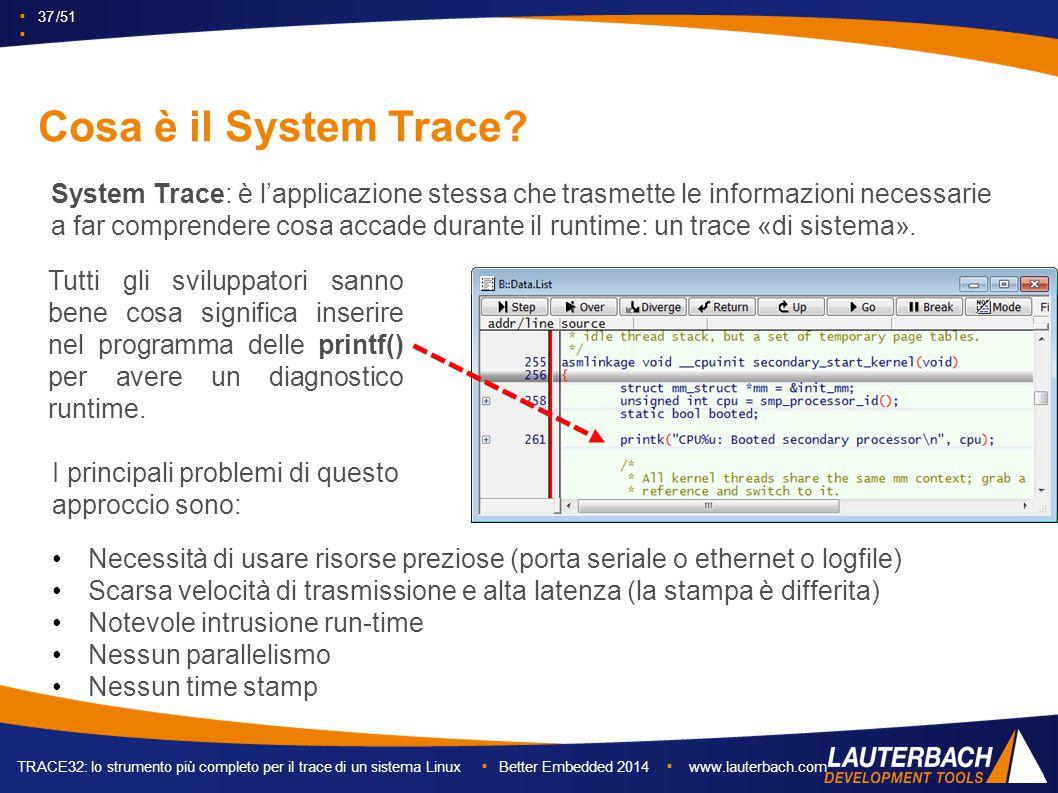 ▪ 37 /51 ▪ TRACE32: lo strumento più completo per il trace di un sistema Linux ▪ Better Embedded 2014 ▪ www.lauterbach.com Cosa è il System Trace.