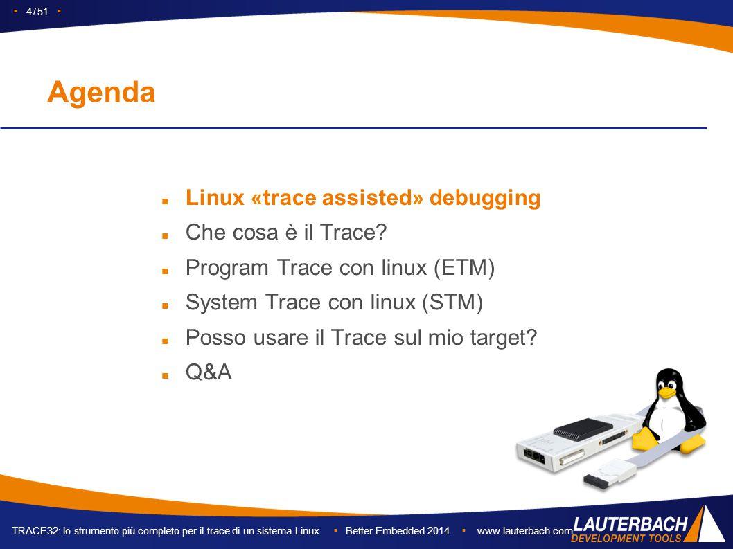 TRACE32: lo strumento più completo per il trace di un sistema Linux ▪ Better Embedded 2014 ▪ www.lauterbach.com ▪ 4 / 51 ▪ Agenda Linux «trace assisted» debugging Che cosa è il Trace.