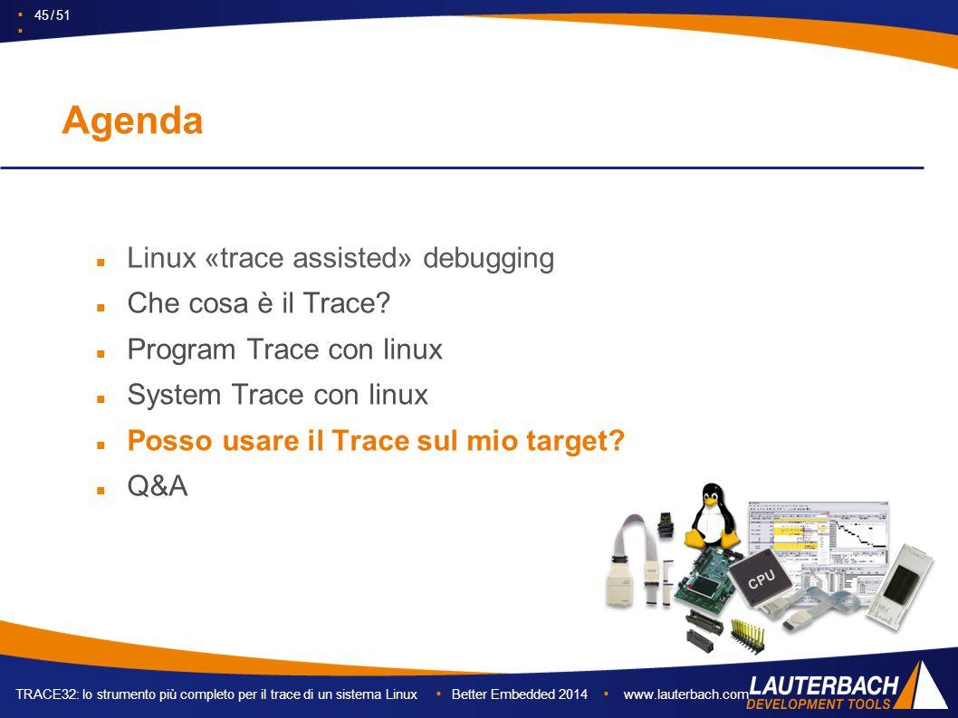 TRACE32: lo strumento più completo per il trace di un sistema Linux ▪ Better Embedded 2014 ▪ www.lauterbach.com ▪ 45 / 51 ▪ Agenda Linux «trace assisted» debugging Che cosa è il Trace.