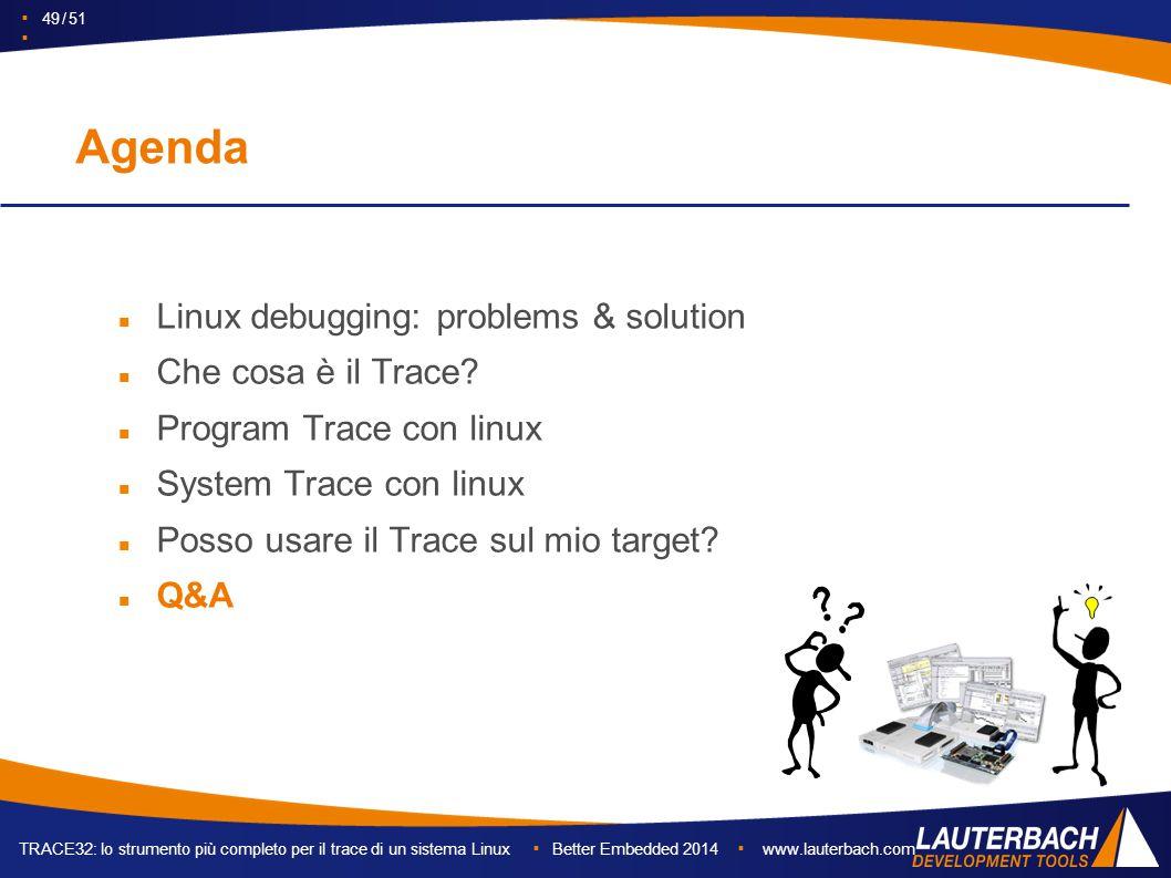 TRACE32: lo strumento più completo per il trace di un sistema Linux ▪ Better Embedded 2014 ▪ www.lauterbach.com ▪ 49 / 51 ▪ Agenda Linux debugging: problems & solution Che cosa è il Trace.