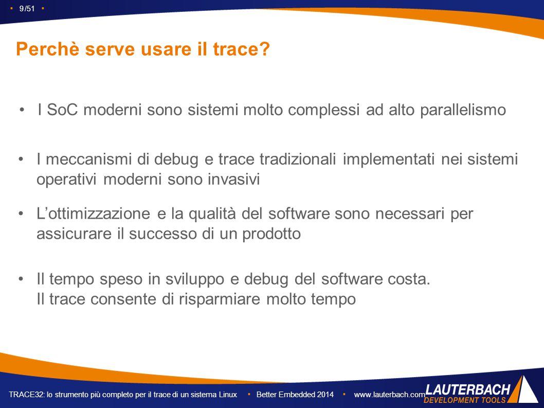 ▪ 9 /51 ▪ TRACE32: lo strumento più completo per il trace di un sistema Linux ▪ Better Embedded 2014 ▪ www.lauterbach.com Perchè serve usare il trace.