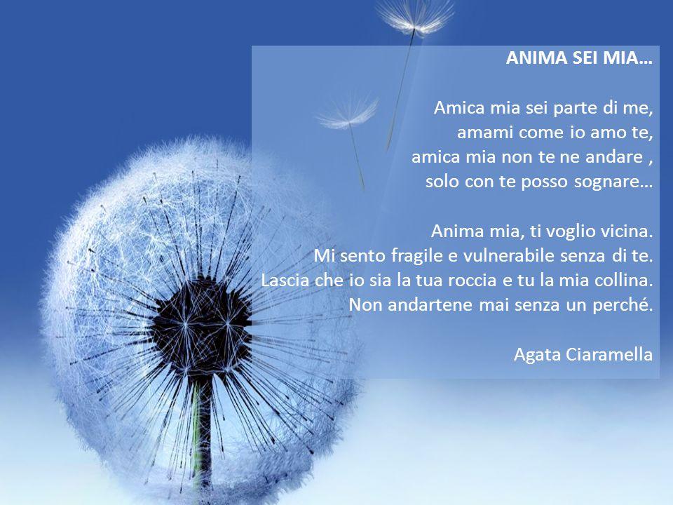 ANIMA SEI MIA… Amica mia sei parte di me, amami come io amo te, amica mia non te ne andare, solo con te posso sognare… Anima mia, ti voglio vicina.