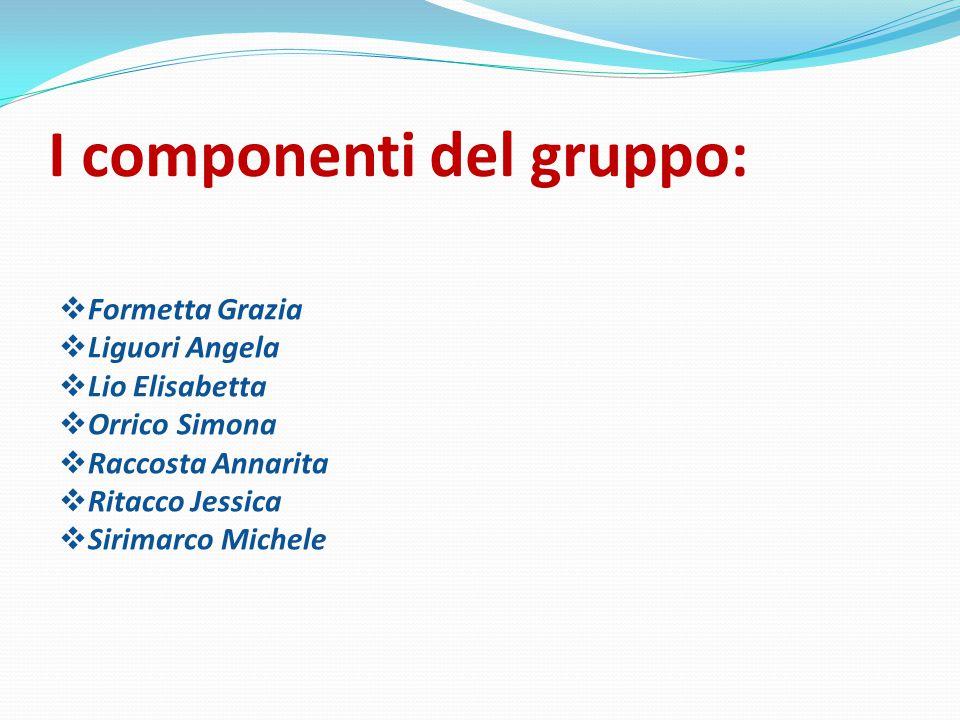 I componenti del gruppo:  Formetta Grazia  Liguori Angela  Lio Elisabetta  Orrico Simona  Raccosta Annarita  Ritacco Jessica  Sirimarco Michele