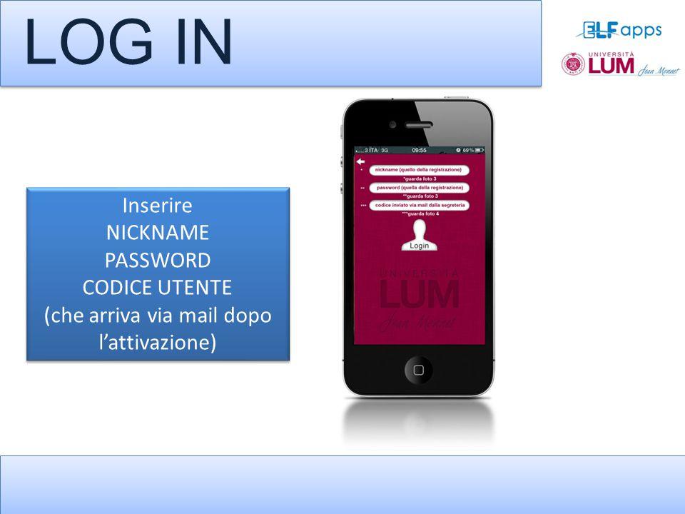 LOG IN Inserire NICKNAME PASSWORD CODICE UTENTE (che arriva via mail dopo l'attivazione) Inserire NICKNAME PASSWORD CODICE UTENTE (che arriva via mail