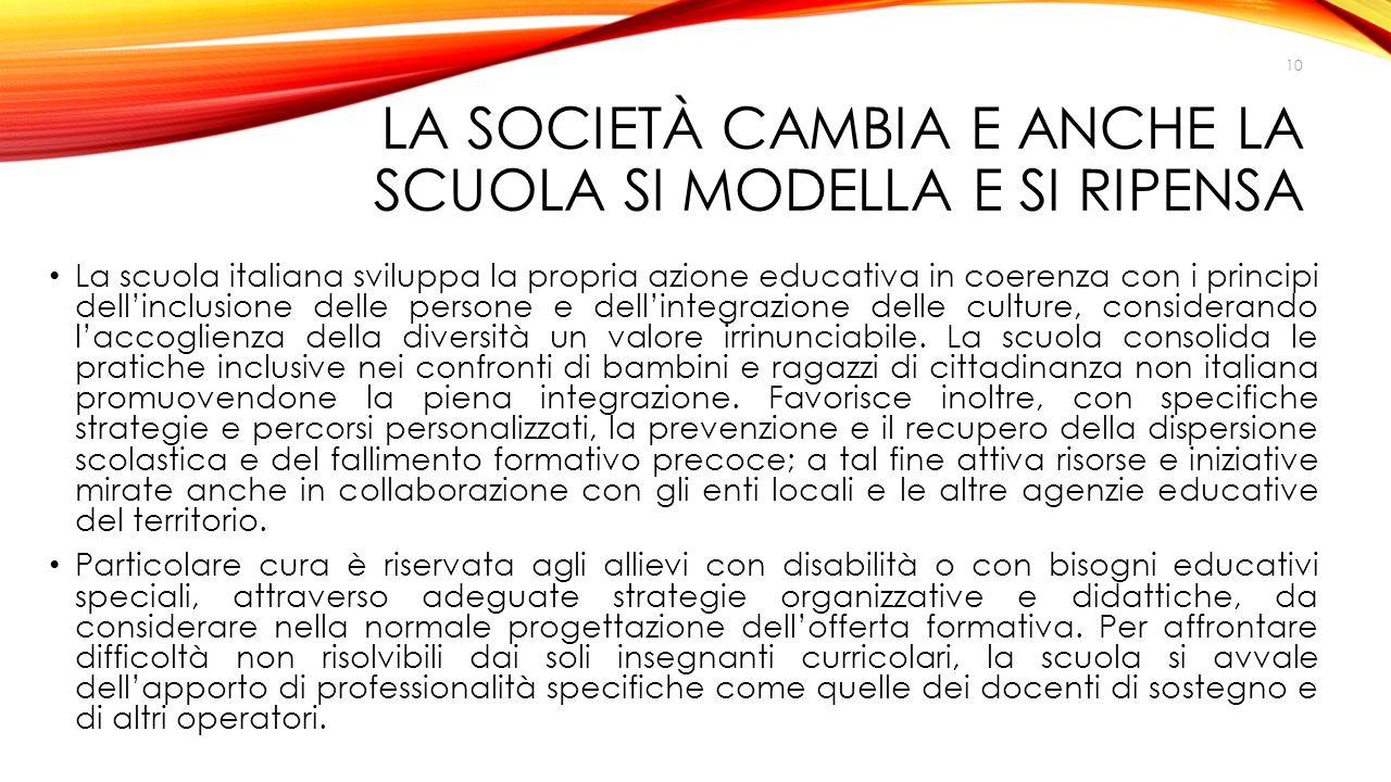 LA SOCIETÀ CAMBIA E ANCHE LA SCUOLA SI MODELLA E SI RIPENSA La scuola italiana sviluppa la propria azione educativa in coerenza con i principi dell'in