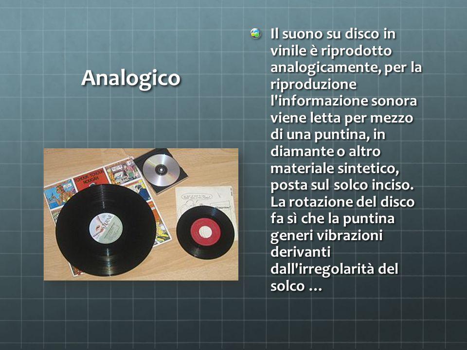 Analogico Il suono su disco in vinile è riprodotto analogicamente, per la riproduzione l informazione sonora viene letta per mezzo di una puntina, in diamante o altro materiale sintetico, posta sul solco inciso.
