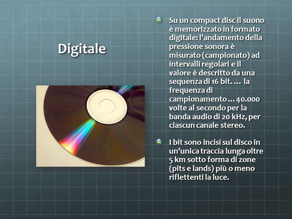Digitale Su un compact disc il suono è memorizzato in formato digitale: l andamento della pressione sonora è misurato (campionato) ad intervalli regolari e il valore è descritto da una sequenza di 16 bit.