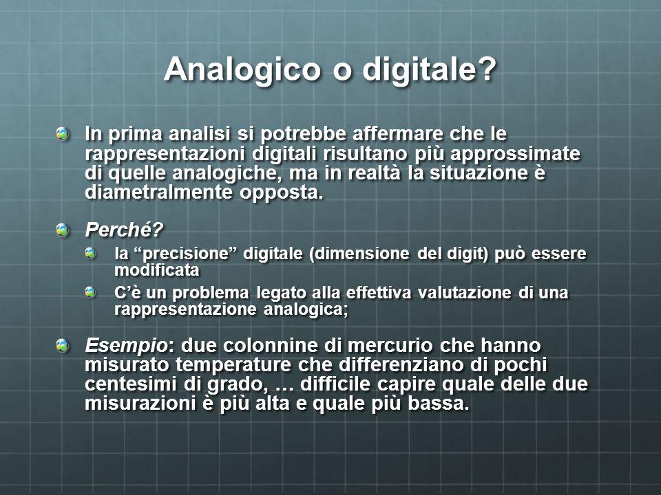 Analogico o digitale? In prima analisi si potrebbe affermare che le rappresentazioni digitali risultano più approssimate di quelle analogiche, ma in r