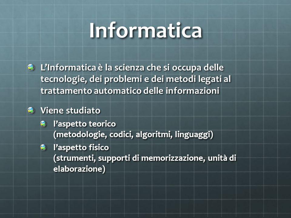 Informatica L'Informatica è la scienza che si occupa delle tecnologie, dei problemi e dei metodi legati al trattamento automatico delle informazioni Viene studiato l'aspetto teorico (metodologie, codici, algoritmi, linguaggi) l'aspetto fisico (strumenti, supporti di memorizzazione, unità di elaborazione)