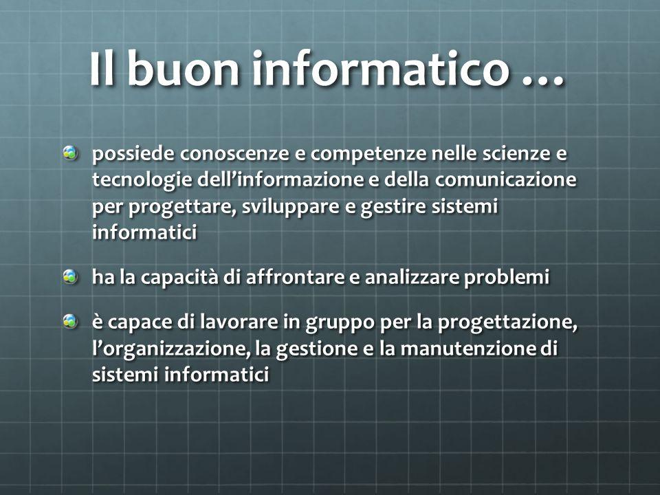 Il buon informatico … possiede conoscenze e competenze nelle scienze e tecnologie dell'informazione e della comunicazione per progettare, sviluppare e