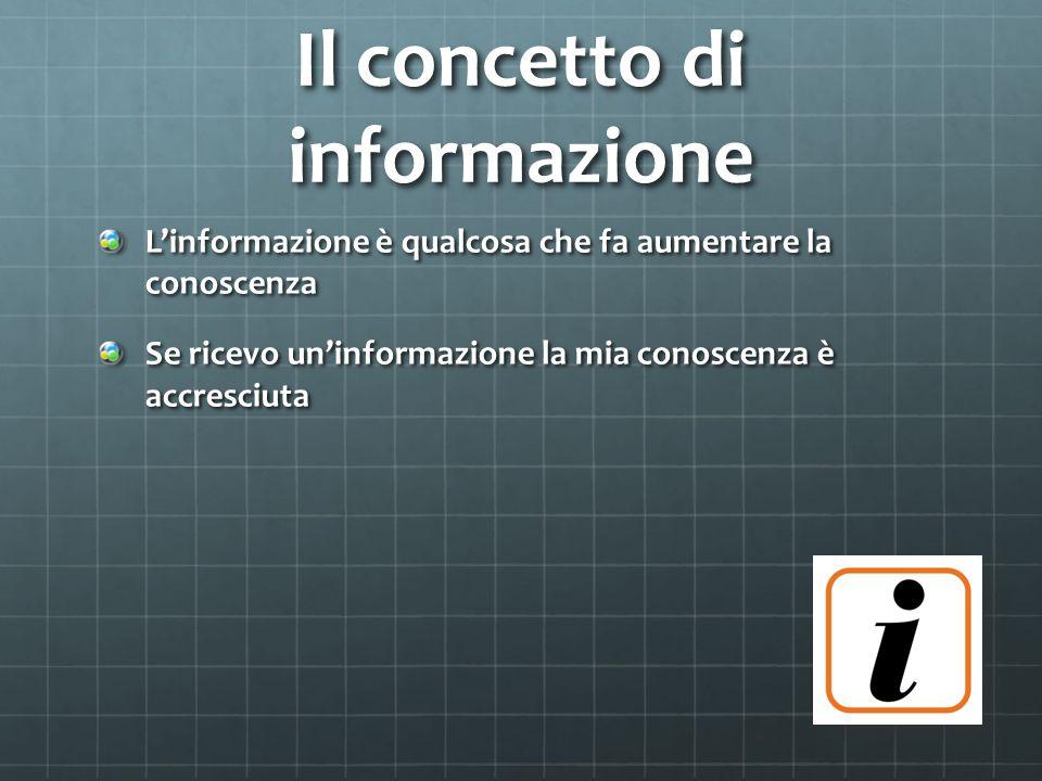 Informazione e Dato Spesso i termini informazione e dato sono usati come sinonimi; in realtà un dato è una delle possibili rappresentazioni di un'informazione La conoscenza aumenta se riceviamo un dato e la relativa chiave di lettura, ma non aumenta se manca uno di questi elementi