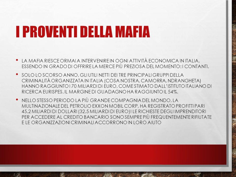I PROVENTI DELLA MAFIA LA MAFIA RIESCE ORMAI A INTERVENIRE IN OGNI ATTIVITÀ ECONOMICA IN ITALIA, ESSENDO IN GRADO DI OFFRIRE LA MERCE PIÙ PREZIOSA DEL