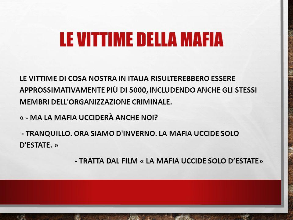 LE VITTIME DELLA MAFIA LE VITTIME DI COSA NOSTRA IN ITALIA RISULTEREBBERO ESSERE APPROSSIMATIVAMENTE PIÙ DI 5000, INCLUDENDO ANCHE GLI STESSI MEMBRI D