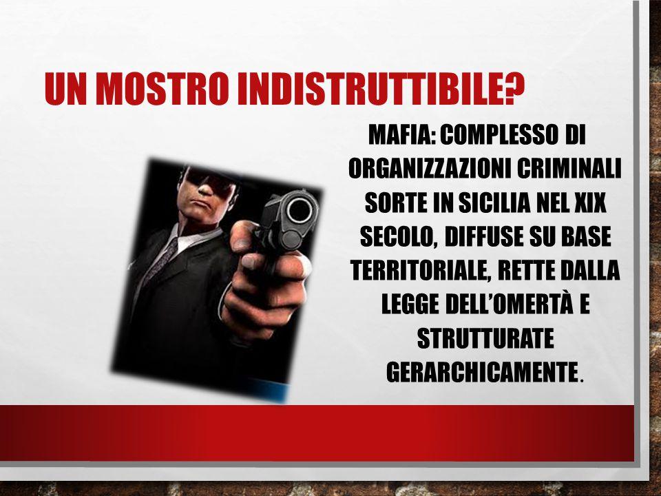 UN MOSTRO INDISTRUTTIBILE? MAFIA: COMPLESSO DI ORGANIZZAZIONI CRIMINALI SORTE IN SICILIA NEL XIX SECOLO, DIFFUSE SU BASE TERRITORIALE, RETTE DALLA LEG
