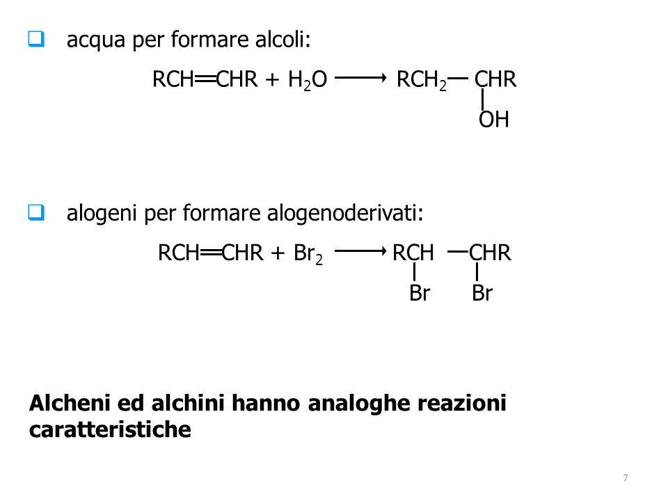 7  acqua per formare alcoli: RCH CHR + H 2 O RCH 2 CHR OH  alogeni per formare alogenoderivati: RCH CHR + Br 2 RCH CHR Br Br Alcheni ed alchini hann